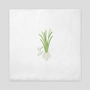Green Onions Queen Duvet