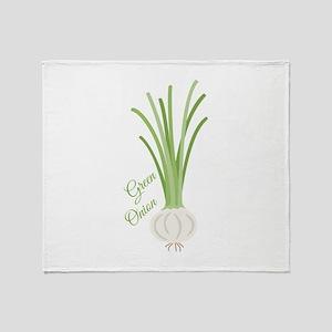 Green Onions Throw Blanket