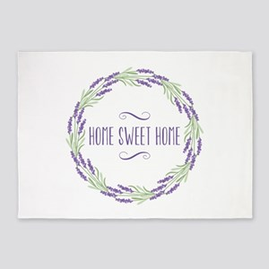 Home Sweet Home Wreath 5'x7'Area Rug