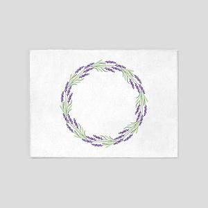 Lavender Wreath 5'x7'Area Rug