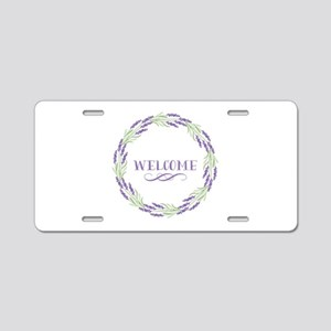 Welcome Wreath Aluminum License Plate
