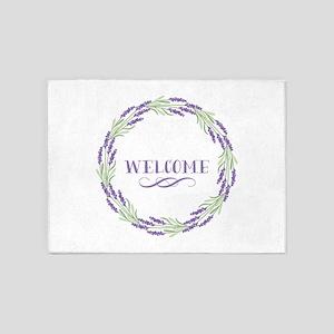Welcome Wreath 5'x7'Area Rug