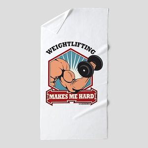 Weightlifting Makes Me Hard Beach Towel