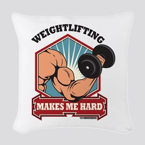 Weightlifting Makes Me Hard Woven Throw Pillow