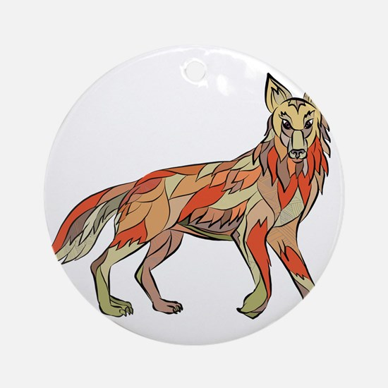 Coyote Side Isolated Drawing Round Ornament