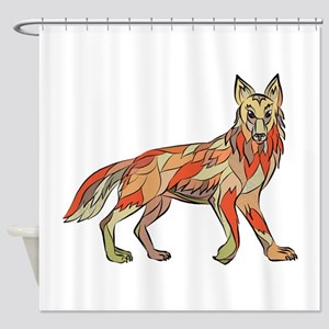 Coyote Side Isolated Drawing Shower Curtain