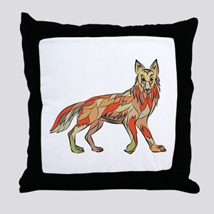 Coyote Side Isolated Drawing Throw Pillow
