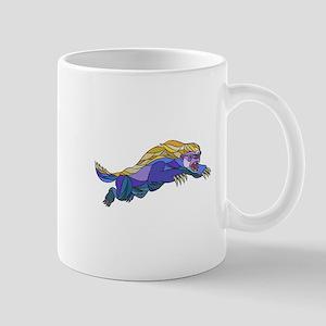 Honey Badger Jumping Drawing Mugs