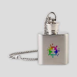 Splat Autism Flask Necklace