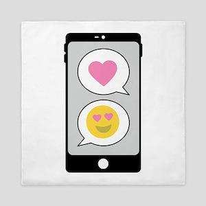 Love Emoji Text Queen Duvet