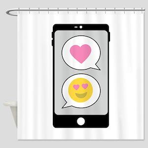 Love Emoji Text Shower Curtain