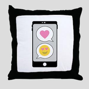 Love Emoji Text Throw Pillow