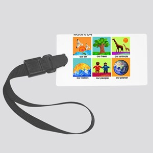 Recycle ReUse colorful design Large Luggage Tag