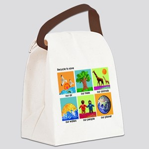 Recycle ReUse colorful design Canvas Lunch Bag