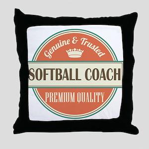 softball coach vintage logo Throw Pillow