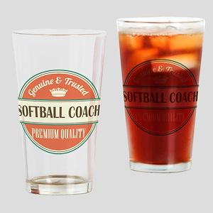 softball coach vintage logo Drinking Glass