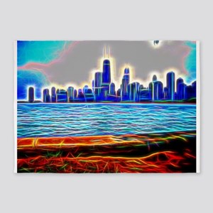Chicago in Brilliant Fiber Art 5'x7'Area Rug