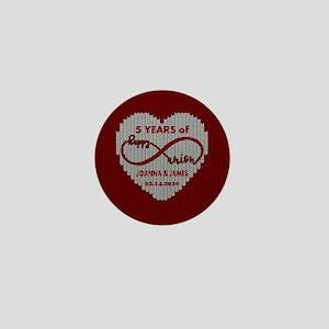 Custom Anniversary Red Wool Infinity Mini Button