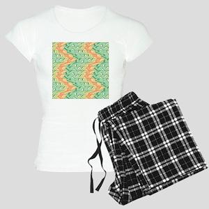 Emerald and salmon pattern Women's Light Pajamas