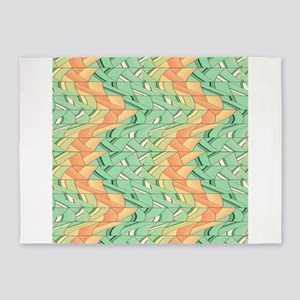 Emerald and salmon pattern 5'x7'Area Rug