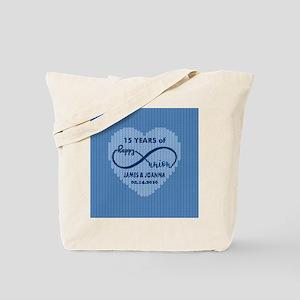 Custom Anniversary Blue Faux Wool Tote Bag