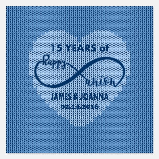 Custom Anniversary Blue Fau Invitations