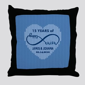 Custom Anniversary Blue Faux Wool Throw Pillow