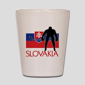 Slovakia Flag Hockey Shot Glass