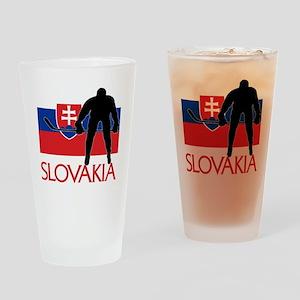 Slovakia Flag Hockey Drinking Glass