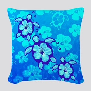 Blue Hibiscus And Honu Turtles Woven Throw Pillow