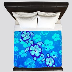 Blue Hibiscus And Honu Turtles King Duvet