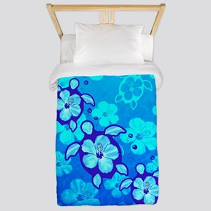 Blue Hibiscus And Honu Turtles Twin Duvet