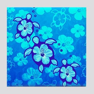 Blue Hibiscus And Honu Turtles Tile Coaster
