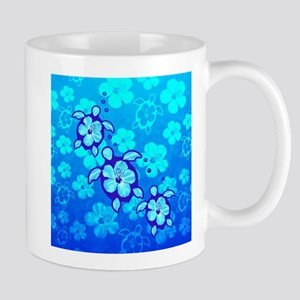 Blue Hibiscus And Honu Turtles Mugs