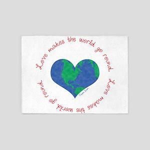 Love Makes The World Go Round 5'x7'Area Rug