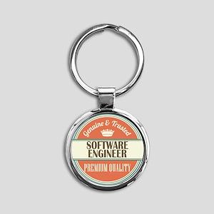 software engineer vintage logo Round Keychain