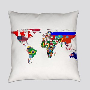 World Map With Flags Everyday Pillow