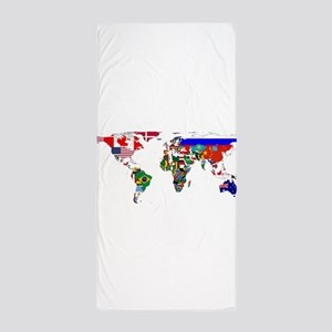 World Map With Flags Beach Towel