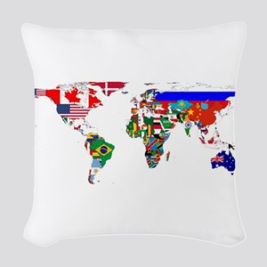 World Map With Flags Woven Throw Pillow