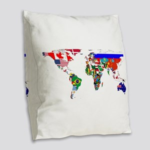 World Map With Flags Burlap Throw Pillow