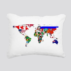 World Map With Flags Rectangular Canvas Pillow