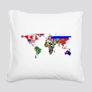 World Map With Flags Square Canvas Pillow