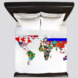 World Map With Flags King Duvet