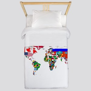 World Map With Flags Twin Duvet