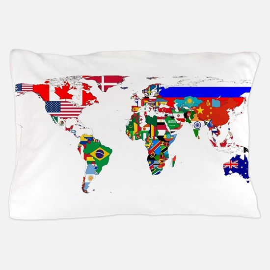 World Map With Flags Pillow Case