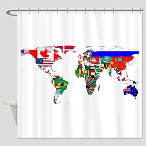 World Map With Flags Shower Curtain