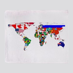 World Map With Flags Throw Blanket