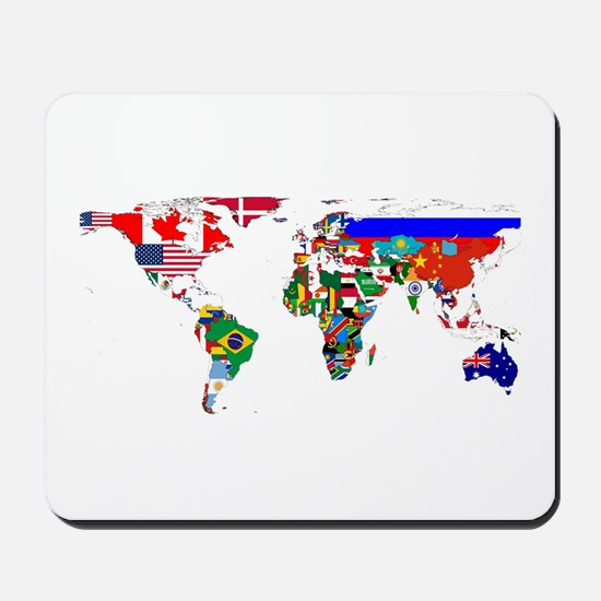 World Map With Flags Mousepad