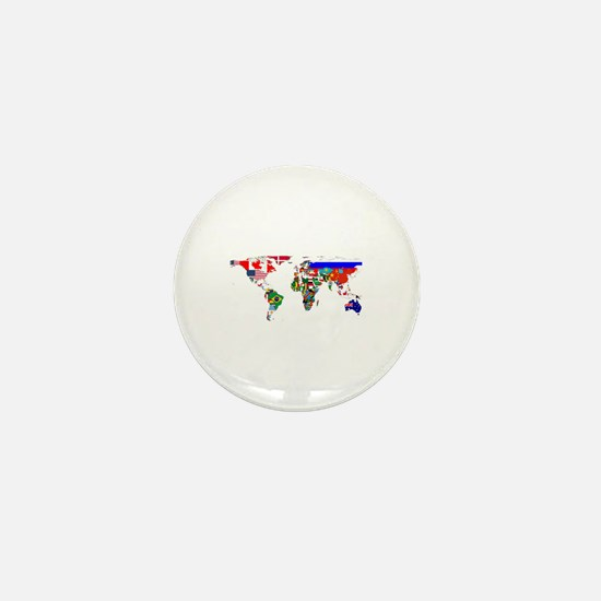 World Map With Flags Mini Button