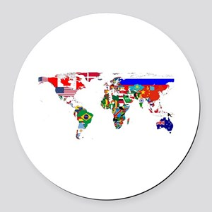 World Map With Flags Round Car Magnet
